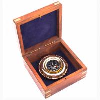 Компас латунный Спасательный круг в деревянной шкатулке
