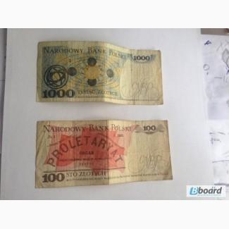 Злотые Zlotych 100 (1986) Zlotych 1000 (1982)