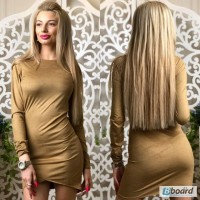 Платье мини стильное молодежное замшевое (3 цвета)