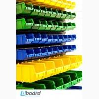 Стеллаж и пластиковые ящики для гаража и склада крепежа, мингов, метизов