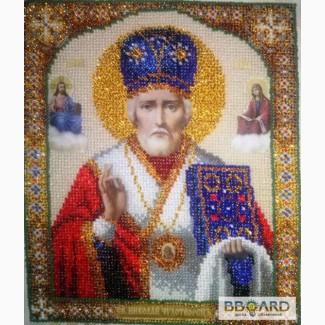 Икона Николай Чудотворец, вышитая бисером