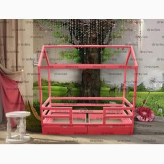 Кровать-домик с ящиками, деревянная, детская кроватка