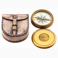 Бронзовый компас в кожаном чехле