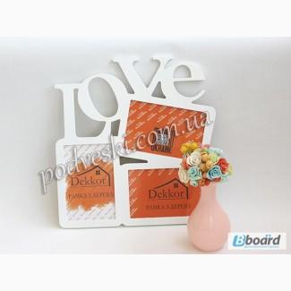 Деревянные слова с фоторамкой Family, Love, Friends, Сім я
