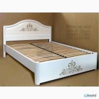 Кровать двуспальная с резьбой из массива ясеня от производителя
