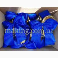 Колокольчики для выпускников ипервоклассников (d-35мм) с синей лентой
