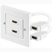 Розетка HDMI F/F, 2х внутренний 86x86 мм, цвет - белый