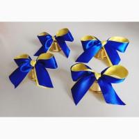 Колокольчики для первоклассников, выпускников (d-35мм) с сине-жёлтой лентой