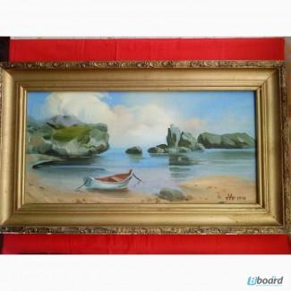 Продам картину Лодка у моря, 1990г. Автор - М.Д.Алатарцев. Холст, масло.25х50