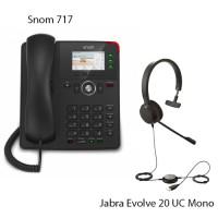 Snom D717 + Jabra Evolve 20 UC Mono, комплект: sip телефон + гарнитура