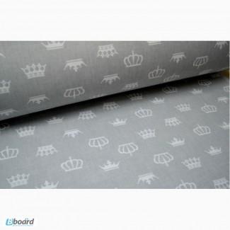 Комплект детского постельного белья для новорожденных, Короны серые