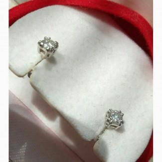 Серьги пусеты с бриллиантами 0.22 карата