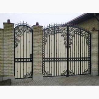 Кованые ворота с профнастилом. Распашные ворота Кривой Рог
