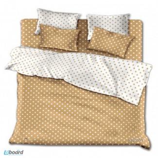 Комплекты однотонного постельного белья Бежевые горохи