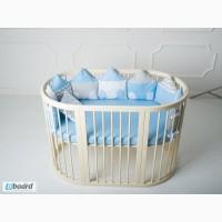 Полный комплект в овальную кроватку Домики