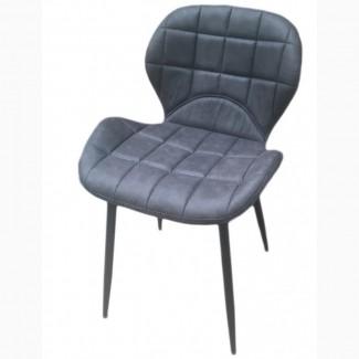 Мягкий стул Дайм, ножки металл, серая экокожа