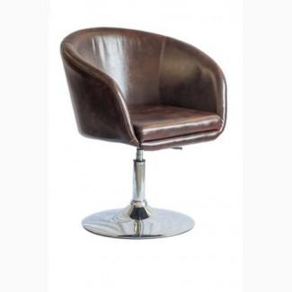 Кресло Мурат New, хром, поворачивается, кожзам коричневый