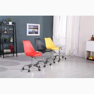Кресло компьютерное Астер, белый, желтый на колесиках