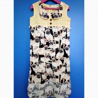 Платье Мопсики для девочек. Ручная работа