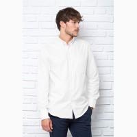 Рубашка мужская с длинным рукавом, хлопок, белая