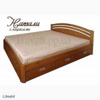 Кровать двуспальная из массива ясеня с ящиками Натали от производителя