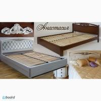 Надежная двуспальная кровать Настасья из массива ясеня (дуба)