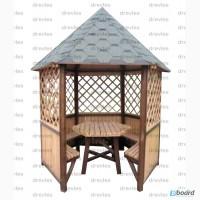 Беседка шестигранная с мебелью без пола / Б6-2