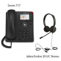 Snom D717 + Jabra Evolve 20 UC Stereo, комплект: sip телефон + гарнитура