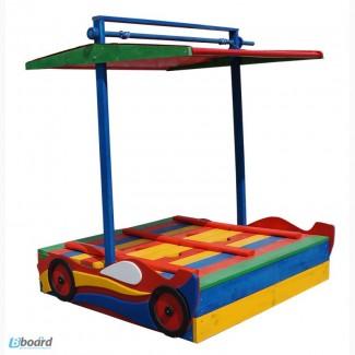 Деревянная песочница для малышей с крышечкой Машинка
