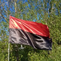 Флаг красно-черный, УПА, автофлаг 140х90 см атлас