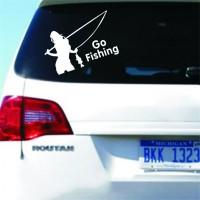 Наклейка на авто Девушка на рыбалке Тюнинг авто