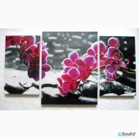 Картина триптих Орхидеи, холст, масло