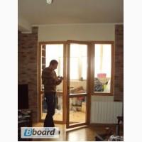 Окна деревянные, остекление балкона, установка окон