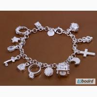Серебрянный браслет с подвесками